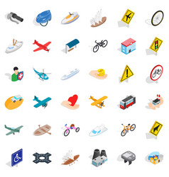 Traffic light icons set isometric style vector