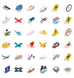 Traffic light icons set isometric style vector