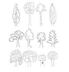 trees collection vector image vector image