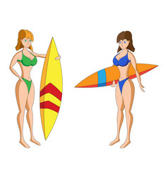 Two cartoon girls in bikini with surfing boards vector