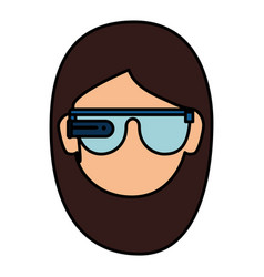 User with reality virtual glasses icon vector