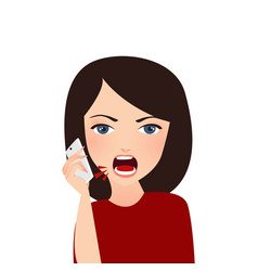 woman complain on phone angry complain upset vector image vector image