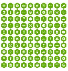 100 symbol icons hexagon green vector