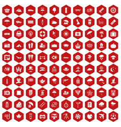100 umbrella icons hexagon red vector