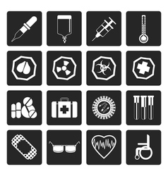 Black simple medical themed icons vector