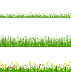 Green grass nature horizontal borders set vector