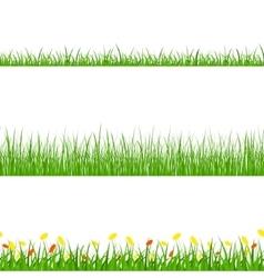 Green Grass Nature Horizontal Borders Set vector image