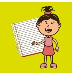 Kid with notebook isolated icon design vector