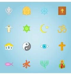 Religious icons set cartoon style vector