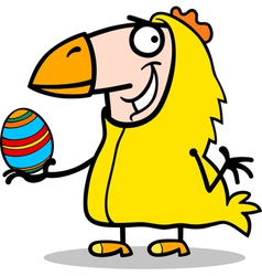 Man in easter chicken costume cartoon vector