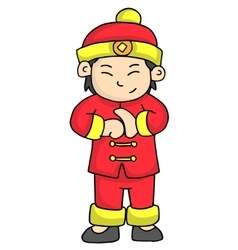 Character of boy greeting chinese new year vector