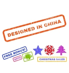 Designed in china rubber stamp vector