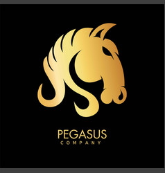Golden pegasus horse icon hand drawn art pattern vector