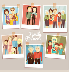 happy family pictures with different generations vector image