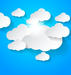 White clouds on blue sky vector image