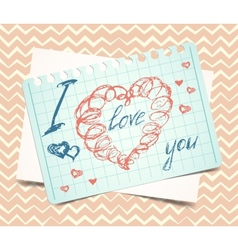 Love you words and heart symbol painted with red vector
