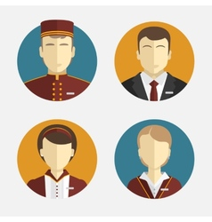 Avatars people the hotel staff reception vector