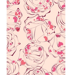 love roses seamless pattern vector image
