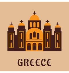 Old greek church flat icon vector