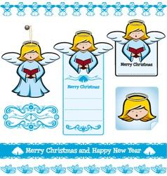 Christmas angel set vector