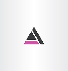 Purple black triangle letter a symbol icon vector