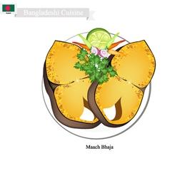 Maach Bhaja or Delicious Bangladeshi Fried Fish vector image