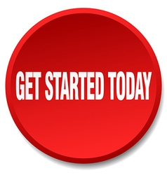 Get started today red round flat isolated push vector