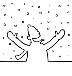 Man playing with snowflakes vector