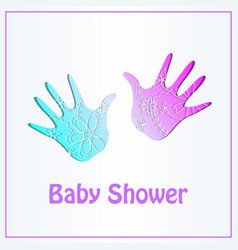Baby shower card with hands gradient vector
