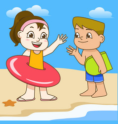 Boy and girl with swimming circle on beach vector