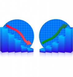 business failure and growth graphs vector image vector image