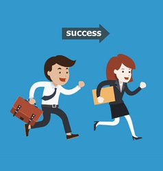 Business people running to success vector image