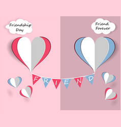Children s card for friendship day hearts of vector