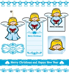 Christmas angel set vector