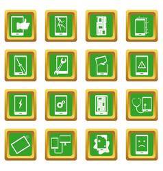 Device repair symbols icons set green vector