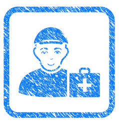 First aid man framed stamp vector