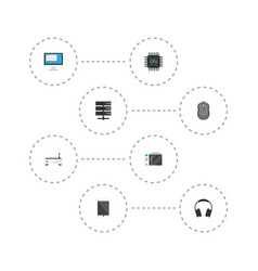 Flat icons router datacenter computer mouse and vector