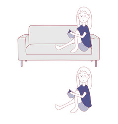 girl reading book sitting alone on sofa vector image