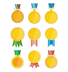 Gold winner badge with ribbon isolated set vector image vector image