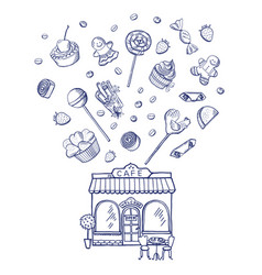 hand drawn sweets shop building vector image