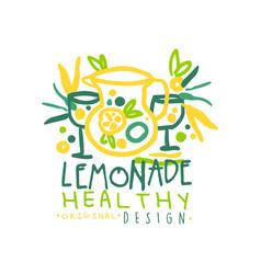 healthy lemonade logo template original design vector image vector image