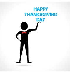 Man holding happy thanksgiving day text vector image vector image