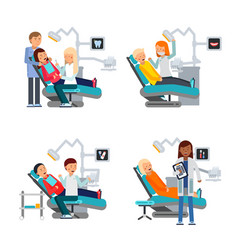 Patient in dentist room healthcare vector