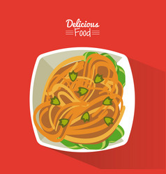 Poster delicious food in red background with dish vector