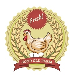 Poultry farm badge chicken and eggs vector