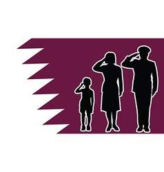 Qatar soldier family salute vector