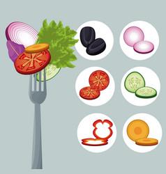 Salad vegetables eating tasty fork vector