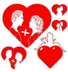 set of hearts with lovers vector image vector image