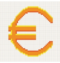 Sign pixel euro gold in grid 607 vector