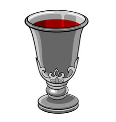 Silver goblet with wine vector